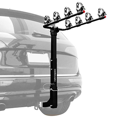 """Retrospec Lenox Car Rack Four Bike Mount Hitch - 4 Bicycle Carrier - Class III or IV 2"""" Hitch - Compact Foldable Steel Frame"""