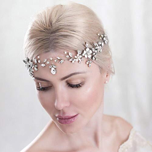 Unicra Braut Hochzeit Haarschmuck Weinrebe Silber Strass Stirnband Blume Kopfschmuck Braut Haarschmuck für Frauen und Mädchen