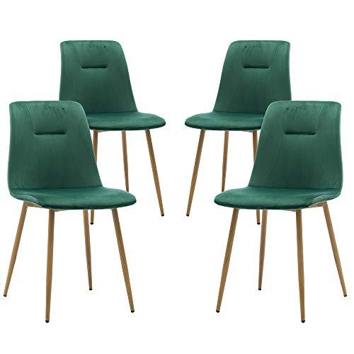 Teraves Esszimmerstühle, Samt, 4 Stück, weicher Sitz, Küchenstuhl mit stabilen Metallbeinen für Wohnzimmer, Büro, Lounge grün