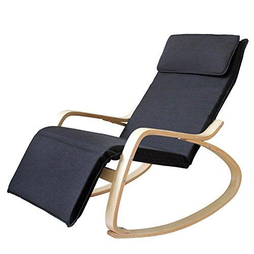 XUENUO 11011204331255364_Black Relaxstoel voor volwassenen, Europese stijl, schommelstoel/kantoor Siesta Recliner/balkon, casual, lange stoelen binnen praktische rugleuning