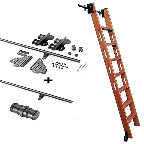 Herraje para Puerta Corredera Kit Biblioteca de escalera corrediza 3.3ft-20ft Juego completo de riel rodante de hardware (sin escalera), riel de escalera móvil de tubo redondo con ruedas de rodillo de