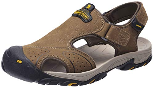 CAMEL CROWN Mens Hiking Sandals Waterproof Leather Fisherman Sandal for Athletic Outdoor Beach Sport Summer-Closed Toe Brown Size 7-12