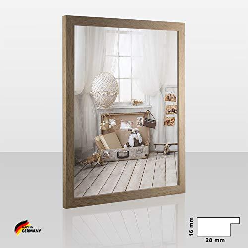 1a Bilderrahmen Orion Sonoma Eiche Dekor 50 x 70 cm kantig Puzzle modern stabil eckig hochwertig preiswert mit klarem Kunstglas