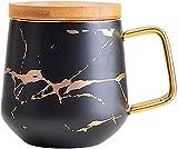 Taza de cerámica Taza de café Taza de té Taza de mármol Tazas de café Leche Copa de leche Matte Café de cerámica Café Tazas de té con tapa de madera Matería Cuchara Handilla de champán Taza de desayun