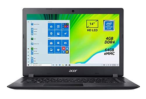 "Acer Aspire 1 A114-32-P34S Notebook Portatile, Intel Pentium Silver N5000, RAM 4GB DDR4, eMMC 64GB, Display da 14"" HD LED LCD, Pc Portatile, Office 365, Windows 10 Home in S mode, Nero, layout Italia"