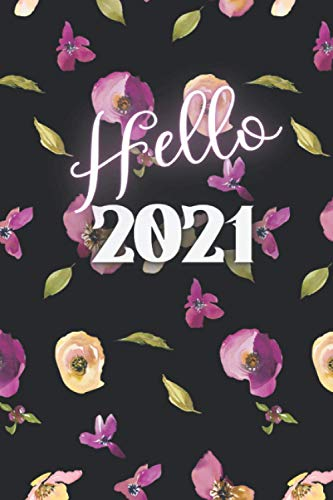 Hello 2021: Black pages Monthly Creative Journaling for Lovers of Neon, Gold, Glitter Gel pens - Printed in black background – Bullet journal - Monthly planner (Notebooks and diaries...