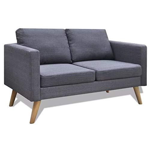 vidaXL Sofa 2-Sitzer Dunkelgrau Stoffsofa Polstersofa Loungesofa Sitzmöbel
