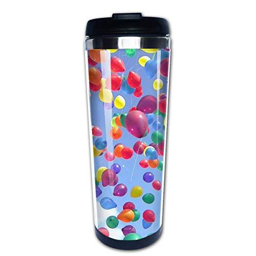 Taza de café de viaje Globos Fly Sky Botella de agua con tapa de fácil limpieza 13,5 onzas