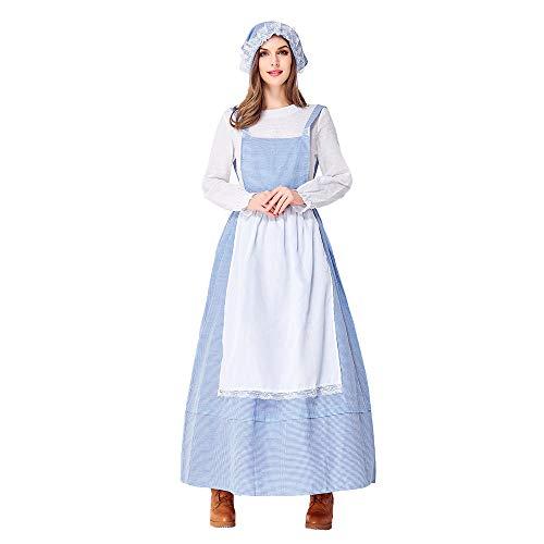 Bmeigo Disfraz de Princesa de Fantasía para Mujer Vestido de Cocina para Niñas de Granja Disfraz de Fiesta de Cosplay de Halloween Azul