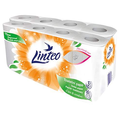 16 Rollen Toilettenpapier 3-lagig 130 Blatt Zellstoff Klopapier WC LINTEO