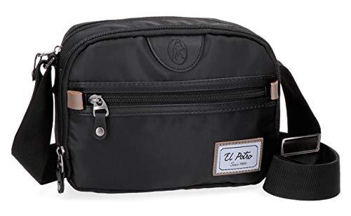 El Potro Pipe Bandolera Dos Compartimentos Negro 23x17x8 cms Poliéster