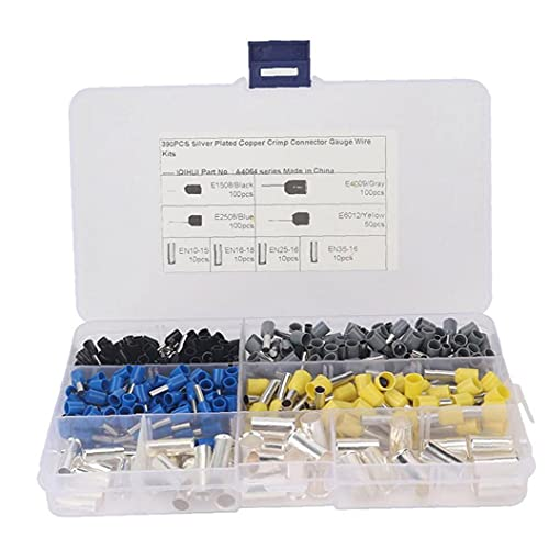 Wire Ferrules Terminals Insulated Crimp Pin Cord End Electrical Wire Connector 390PCS