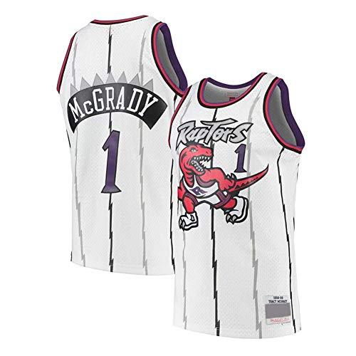 HANJIAJKL Camiseta de Baloncesto para Hombre,NBA Toronto Raptors #15 Vince Carter #1 Tracy McGrady,Bordado Camiseta para Fan,White 1#,S