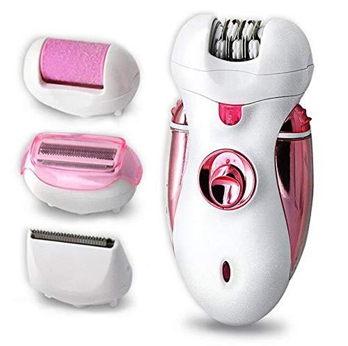 Tondeuse À Cheveux Épilateur, Rechargeable 4-En-1 Dame Rasoir Électrique Broyeur À Pied Polyvalent Femelle, Plumage, Coupe De Cheveux,Pink
