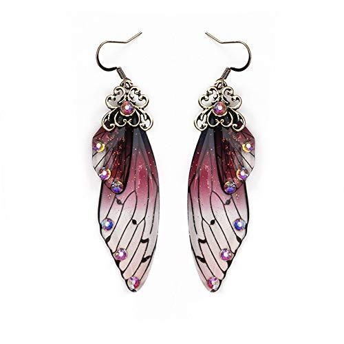 Pendientes colgantes con alas de mariposa de cristal para mujer, diseño vintage con alas de cicada