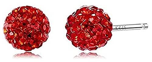 YURG Pendientes en piedra F Las mujeres brillantes bola de cristal en plata de ley Fantasy (Col: azul cielo) (color: rojo)