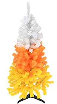 Tree Buddees White Orange and Yellow Candy Corn Halloween Tree  4 Foot