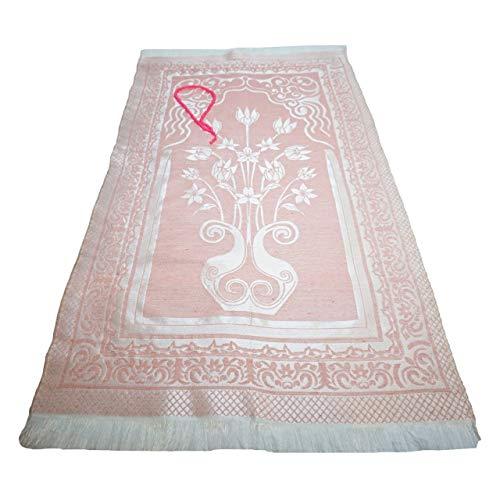 """Tapis de prière (+ perles de prière Tasbih) islamique Namaz brillant Motif oriental Tapis musulman léger Idéal pour voyage/maison/bureau/masjid/hajj/umrah, rose clair, 47"""" x 25"""" (120x 64cm)"""