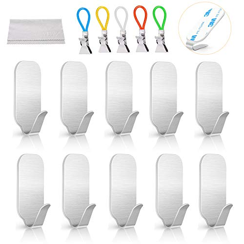 Self Adhesive Hooks, YHYZ 10PCS Premium Stainless Steel Adhesive Hooks + 5PCS Towel Tips, Waterproof Sticks Hanger for Kitchens Bathroom Home Offices Closet - No Drill Glue Needed