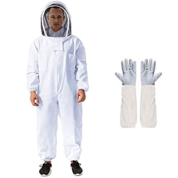 Beekeeping Suit Apiarist Beekeeping Jacket w/Sheepskin Gloves & Ventilated Fencing Veil Hood Professional Beekeeper Suit Outfit Total Protection for Backyard Professional and Beginner Beekeepers-XXL