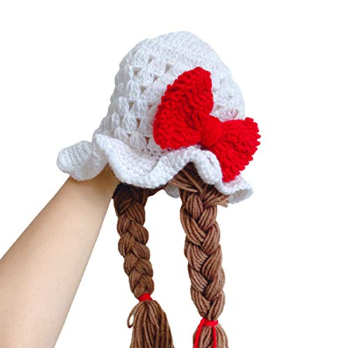 Infgreate Braided Wig Woolen Yarn Knitted Hat Sunflower Cherry Cap Photo Prop for Baby Boys Girls Children Kids - Red Bowknot