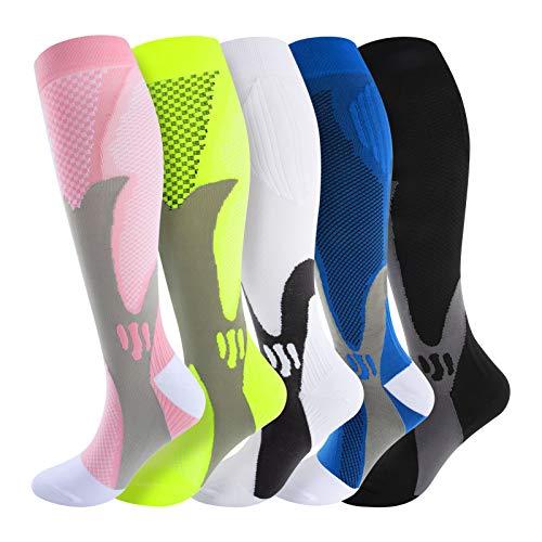 Calcetines de compresión para mujer y hombre, medias de carga, protección del tobillo para deporte, carreras, atletismo, trekking, viajes, volo, enfermeras, embarazo, 5 paires, S-M