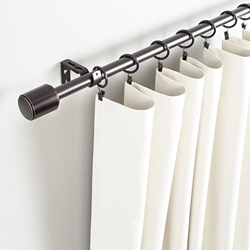 Amazon Basics 1-Inch Curtain Rod with Cap Finials - 72 to 144 Inch, Espresso (Dark Bronze)