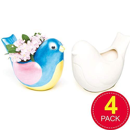 Baker Ross Bird keramische bloempotten (doos met 4) voor kinderen om te decoreren, kunsthandwerk