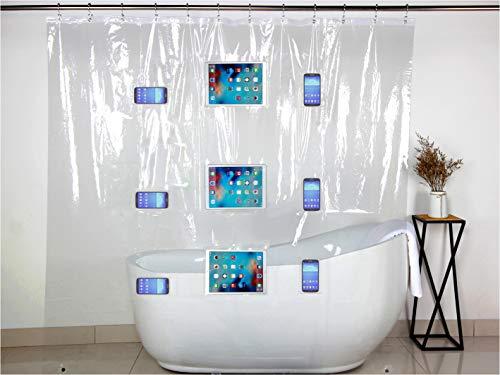 DEEP DWELL Shower Connect Duschvorhang für Smartphone, Tablet und EBOOK-Reader, Mit 9 Taschen, Transparent, 183x190cm, Anti-Schimmel, Anti-Bakteriell, mit 12 Haken