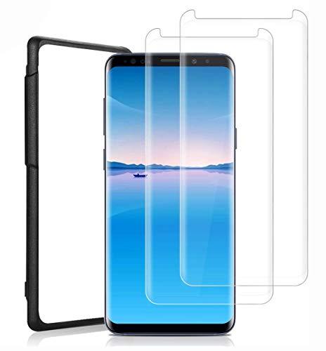 HCHYU S9 Plus Vetro Temperato [2 Pezzi], S9 Plus Pellicola Protettiva [HD Alta Trasparente][Anti-bolla] Copertina 3D Completa (con Positioner) per Samsung Galaxy S9 Plus