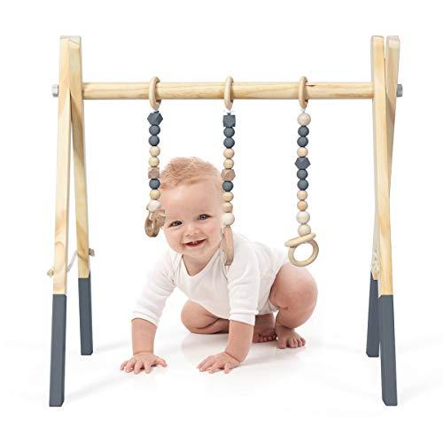DREAMADE Spieltrapez aus Holz, Motorikspielzeug für Babys, Spielbogen mit 3 Spielzeugringe & 2 Kleinen Tiermodellen, Aktivitätszentrum mit Dreieckigen Struktur, für Kinderzimmer (Grau)