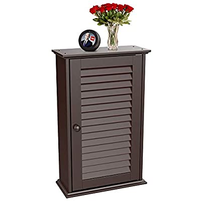 Yaheetech Wood Bathroom Wall Mount Cabinet Toilet Medicine Storage Organizer Single Door with Adjustable Shelves