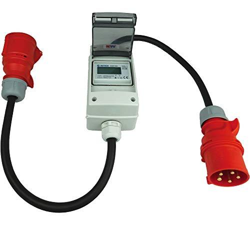 NW Powersolutions NW10107 32A 400V CEE mobiler digitaler Stromzähler geeicht (mit Reset) IP44 3-phasig Adapter