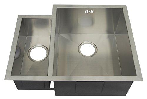 1,5 vasche fatte a mano, raggio di 10 mm, facili da pulire, in acciaio inox spazzolato (DS034 R)