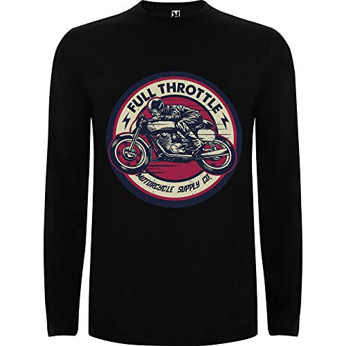 Lilij Camiseta Hombre Manga Larga Full Throtlle Cafe Racer Biker Negro XX-Large