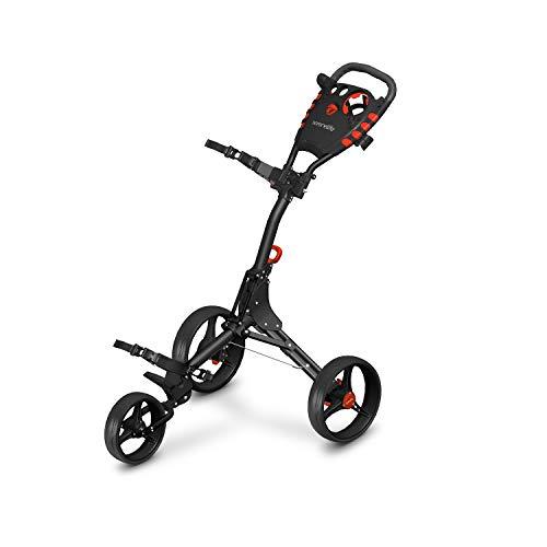 3 Wheel Golf Push Cart - Lightweight Folding Golf Walking Push Cart Roller Golf Bag Holder w/ Upper/Lower Bracket w/ Elastic Strap, Scorecard, Umbrella, Cup, & Bag Storage Holder - SereneLife SLG3W