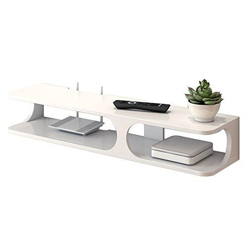 SHOP YJX Consola Flotante Moderna for TV de 2 Capas de 43.3'x9.4 x7 para Reproductor de DVD/Caja de Cable/enrutador/Control Remoto/Consola de Juegos (Blanco/Negro) (Color : White)