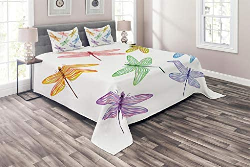 Lunarable Dragonfly Coverlet Set Queen Size Group of Dragonflies with Colored Patches Elongated product image