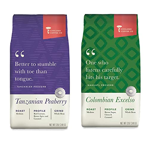 Civilized Coffee Whole Bean Fresh Roasted Bundle Tanzanian Peaberry & Colombian Excelso