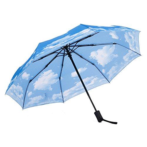 Parapluie de voyage automatique SY - Compact, coupe-vent, léger, incassable, bleu (Bleu) - SY-2