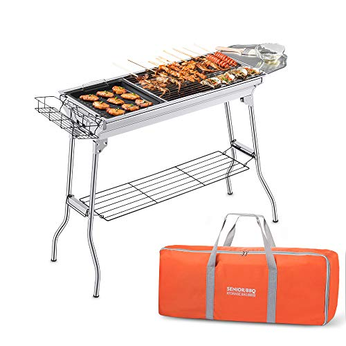 Portable Charcoal Grill, Foldable BBQ Grills Outdoor Cooking Charcoal Barbeque for Picnic, Camping, Patio Backyard Cooking - 39.37x 13.19 x 27.56 inch - with Storage Bag & Non-Stick Frying pan