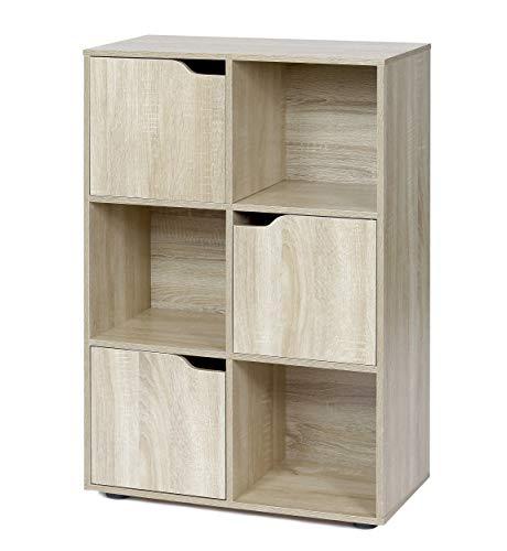 ts-ideen Standregal Bücherregal Sideboard Buchregal Holz Natur Modern mit Türen