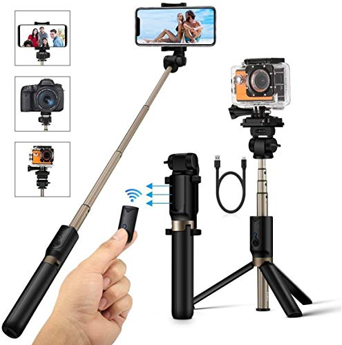 Rugged tripod PC Portable 4 in 1 Bluetooth Selfie Stick 360° Rotation Phone Tripod with Detachable Wireless Remote Shutter for Small Camera As GoPro Compatible with iPhone/Samsung/Huawei best gift