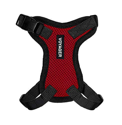 """Voyager Step-in Lock Pet Harness – All Weather Mesh, Adjustable Step in Harness for Cats and Dogs by Best Pet Supplies - Red, XXXS (Chest: 9-13"""" Fit Cats)"""