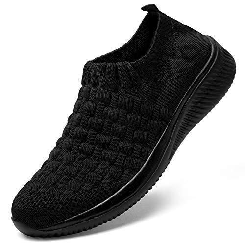 DKRUCAK Womens Comfort Elastic Sock Slip On Walking Shoes Lightweight Non-Slip Breathable(All Black-EU 40/US 9