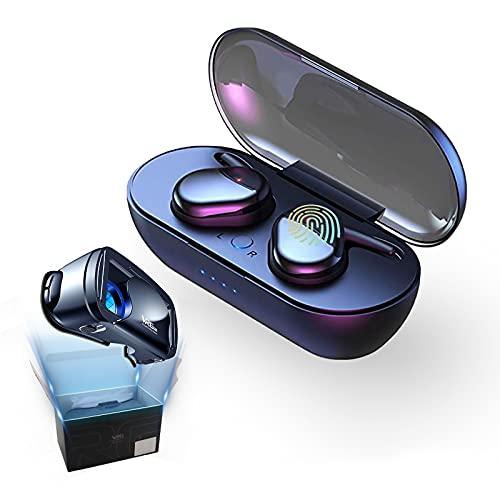 Auriculares Bluetooth 5.0 Auricular Inalámbrico Control Táctil con Graves Profundos In-Ear Auriculares Bluetooth con Caja de Carga Rápida IPX7 Impermeables,para Android/iOS + Gafas VR 3D