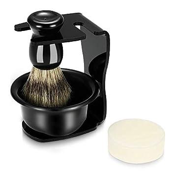 Anself 4pcs Men Shaving Set Badger Hair Brush  Shaving Razor Holder Stand Soap Bowl Shaving Soap