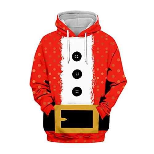 YXIU Weihnachten Pullover Unisex, Herren Damen Weihnachtspulli Ugly Christmas Sweater 3D Christmas Sweatshirt Weihnachtspullover Xmas Pulli Hoodie Kapuzenpullover