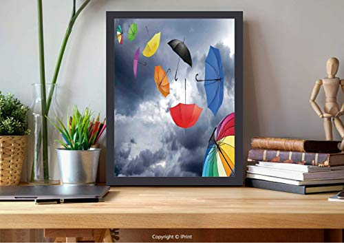 AmorFash №07543 Frame Art Wall,Apartment Decor,Parasols On Foreground of Dark Cumulus Rain Clouds Windy Stormy Day Shield Image,Multi, Best for Gifts