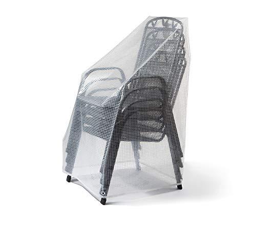 Abdeckhaube für Ihre stapelbaren Gartenstühle/Niedriglehner   Schutzhülle für Ihre Gartenmöbel   100% Wasserdicht & Winterfest   Maße ca. B 65cm x T 65cm x VH 70cm / HH 90cm